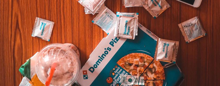 domino pizza box and salt packs