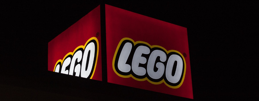 Large red and and white lego sign