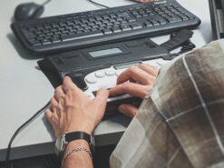person at keyboard